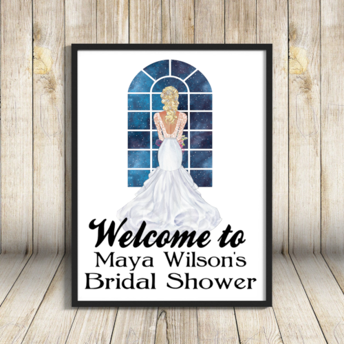 Bride Personalised A4 Print, Custom Bridal Shower Picture