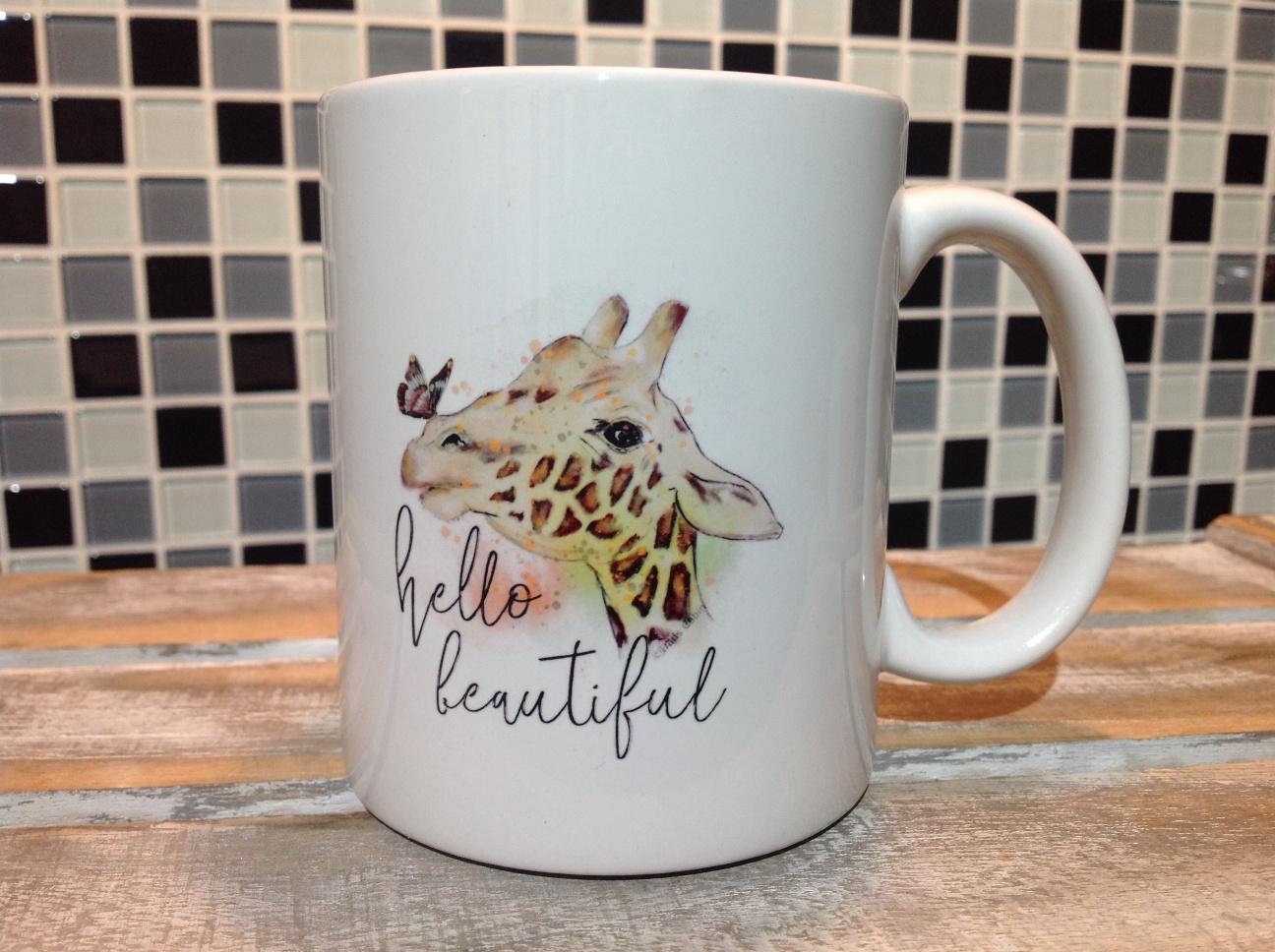 Coffee Mug Hello Beautiful Personalised Mug Giraffe Espresso Mug
