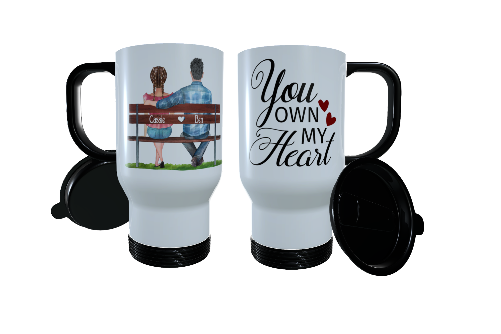 You Own My Heart Couples Bench Travel Mug, Custom Friend Thermos