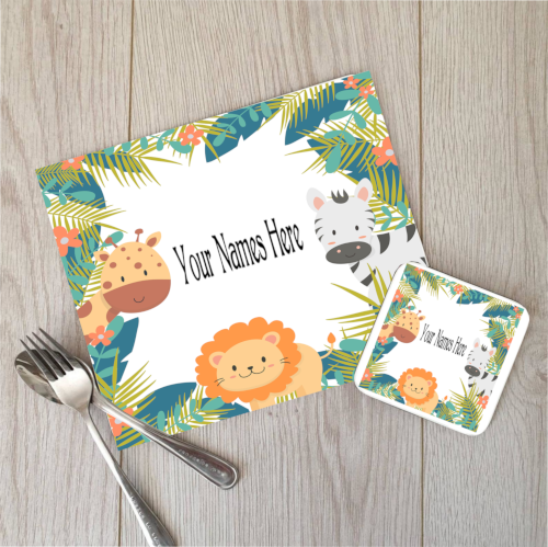Custom Jungle Placemat and Coaster Set, Childrens Placemat, Lion